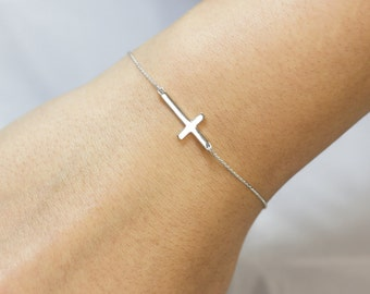 Solid Sterling Silver Sideways Cross Bracelet . Sterling Silver Bracelet . SS Cross Bracelet. Cute / Trendy bracelet.