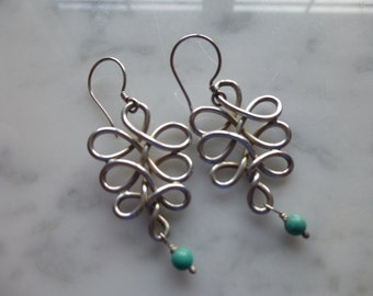 Sterling Silver Infinity Earrings with Genuine Turquoise Stone.