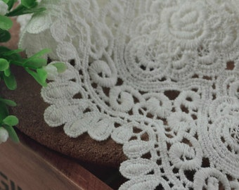 Venice White Lace Cotton Trim Embroidery Hollow Out Lace Saclloped Edge Trim 3.54 Inch Wide 2 Yards L0345