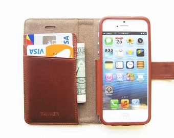 iPhone SE leather iPhone wallet / leather iPhone case / leather iPhone cover - handmade - chestnut leather - no plastic parts