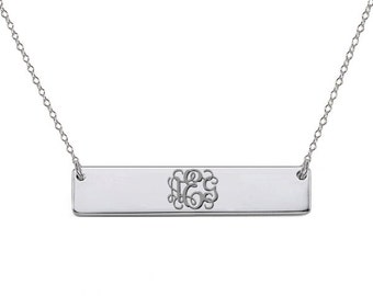 Personalized Silver monogram bar necklace 1.5 inch pendant select any initial made with 925 Sterling silver