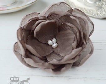 Mocha Brown Wedding - Hair Flower Clip - Brown Hair Flower - Hair Flower - Mocha Bridesmaid - Brown Hair Clip - Brown Flower Brooch - Mocha