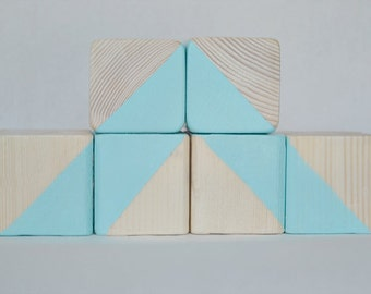 Wooden Blocks, Baby Blocks, Wooden Toys, Decorative Wooden Blocks, Nursery Decor, Pastel Blue Wooden Blocks, Surf: Set of 6 Painted