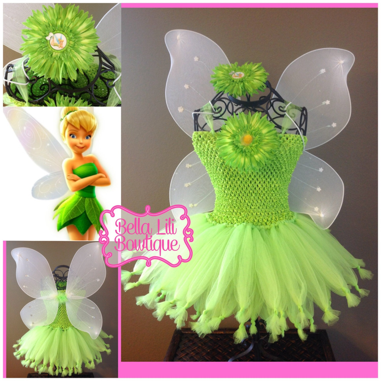 tinkerbell picie fairy tutu dress costume by bellalilibowtique. Black Bedroom Furniture Sets. Home Design Ideas