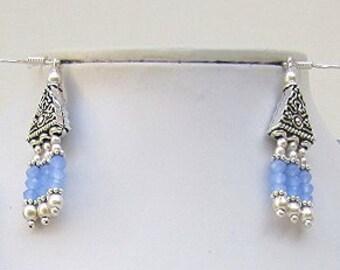 BLUE CHALCEDONY FACETED Dangle Earrings