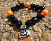 FALL SALE! Swarovski Elements and Preciosa Czech Glass Halloween Pumpkin Jack-O-Lantern Stretch Bracelet - Halloween Bracelet
