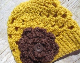 Newborn Hat, Baby Girl Hat, Newborn Crochet Girl Hat, Flower Crochet Hat, Baby Girl Flower Hat, Baby Beanie Hat, Photo Prop, Fall Hat