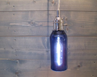 Small Blue Beer Bottle Pendant Light - Upcycled Industrial Glass Ceiling Light