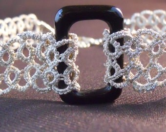 Silver Tatted Choker with Black Agate