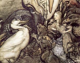"Arthur Rackham ""But Who Has Won"" 1907 Reproduction Digital Print Animals Alice In Wonderland"