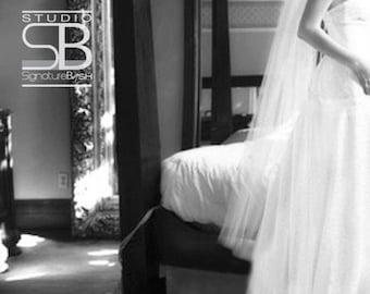 Cut Edge Waltz Veil | Single Tier Wedding Veil | Waltz Length Wedding Veil