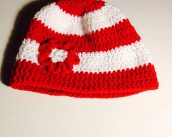 Red and white ladies hat with red & white flower