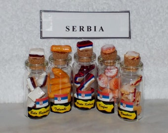 Set of 5 MINIATURE COOKIES for SERBIA Keepsake - One of the Anndora Collections of International Polymer Clay Cookie Sets.
