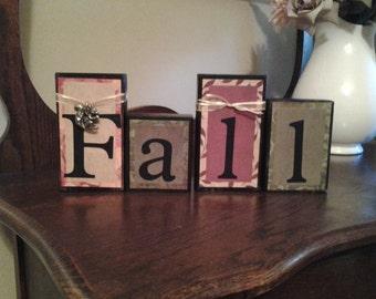 FALL wood block sign