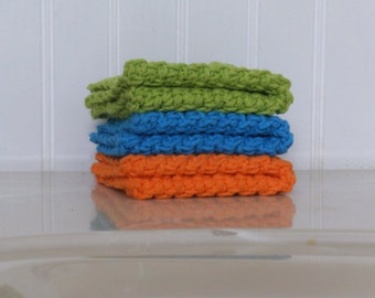 Crochet Wash Cloth / Dish Cloth: Set of 3. Green, Blue, Orange
