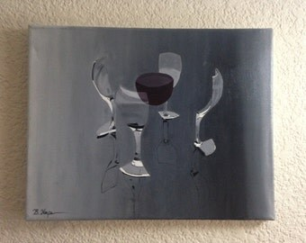 Unique split wineglass oil painting