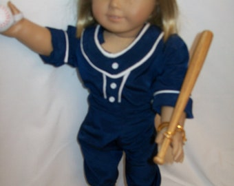 Baseball uniform with bat and ball for theAmerican girl doll