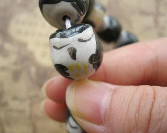 5pcs 11x14mm Ceramic Owls Bead Charm Pendant Findings