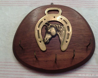 Wood and Brass Key Holder with Horseshoe and Horse