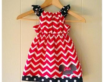 Girls Minnie dress, Minnie Mouse, girls peasant dress, Minnie birthday, baby girl dress, first birthday, girls' clothing, chevron dress