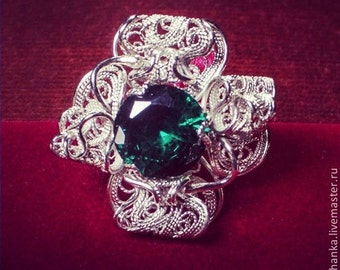 Filigree Ring of German silver with cubic zirconia, handmade