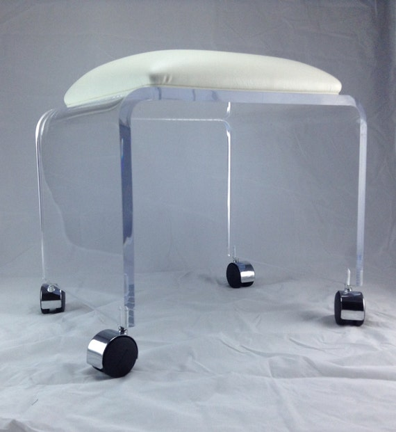 Clear Acrylic Vanity Bench with White Vinyl by