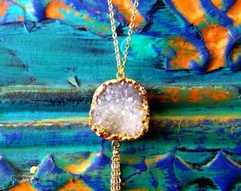 Natural Quartz Druzy Necklace: Long