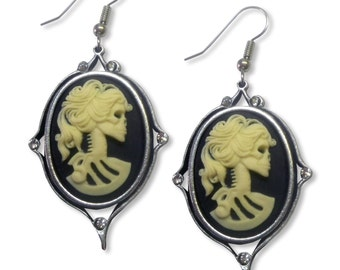 Gothic Lolita Cameo Earrings Ivory on Black with Clear Crystals #1012