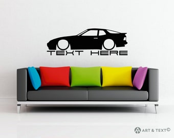 Large Custom personalized text -  Low Porsche 944 wall decor vinyl sticker