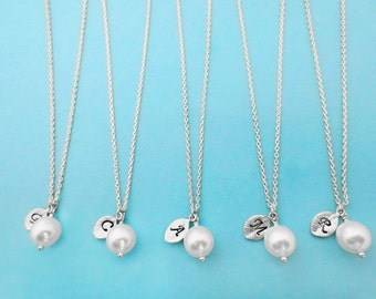 Set of 6, Personalized, Letter, Initial, 8mm, White, Pearl, Silver, Necklace, Sets, Wedding, Bridesmaid, Bridal, Gift, Jewelry