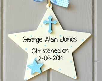 Christening details plaque. Personalised baby boy christening gift and Keepsake