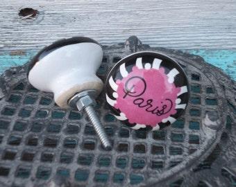 Hardware Pink Black Ceramic Paris Knob French Inspired