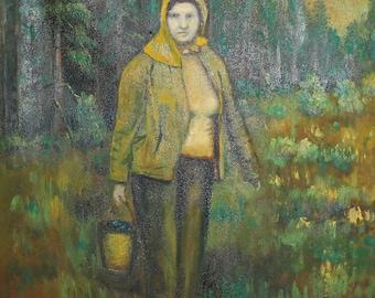 European art oil painting forest landscape rural woman portrait signed
