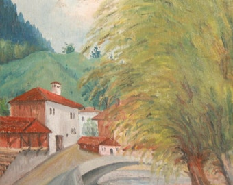 European art oil painting landscape 1977 signed