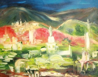 European art expressionist composition landscape signed
