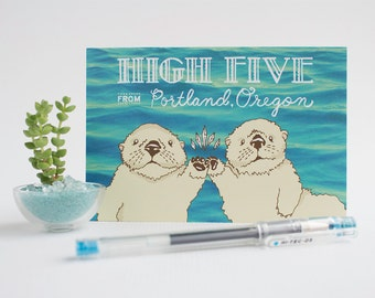 High Five From Portland / Sea Otters - Set of 3 Postcards
