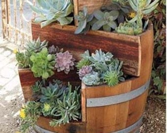 """Multi-Tiers Barrel Planter with 2 Triangle Beds, 26""""W x 35""""H, MBP-2 series"""