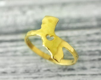 I  heart  California  ring 18K gold plated  ring  State Sweetheart Rings Your City ring  hammered state ring state jewelry