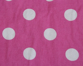 Baby Crib Sheet  or Toddler Bed Sheet - Pink with Big White Polka Dots