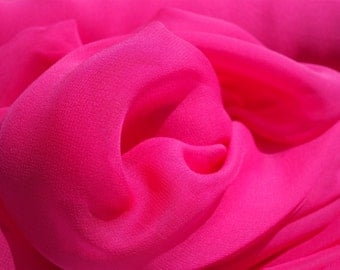 """PURE SILK CHIFFON Fuchsia Peony Pink 138 cm 54"""" Wide medium weight available by the metre"""
