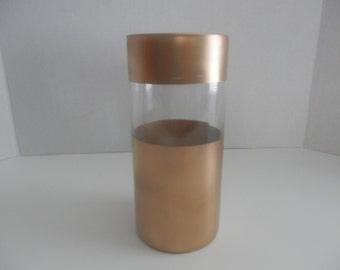 Wedding centerpiece, Gold vase, Wedding decoration, Gold hand  painted glass cylinder candle holder or flower vase for wedding centerpiece