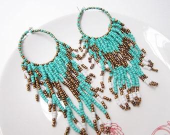tribal earrings,bohemian earrings in mint green,ethnic jewelry,turquoise earrings beaded earrings,hipster jewellery ,