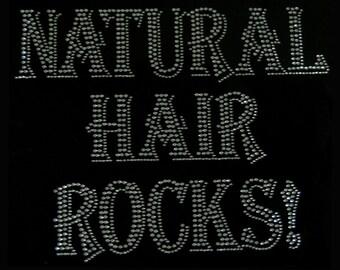 Natural Hair Rocks! Rhinestone Iron on Applique