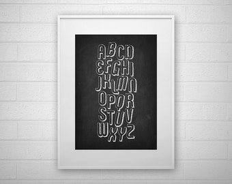 Typography Art Print - A-Z - Chalkboard - Letter poster - Printable - Wall Art