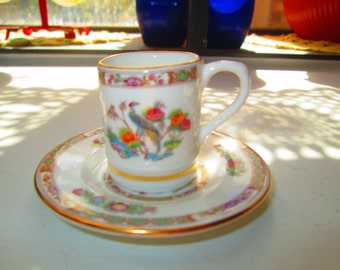 Miniature Wedgwood Tea Cup and Saucer Birds & Floral Fine Bone China England