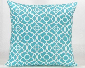 Teal Euro Pillow - Aqua, Turquoise, and White Kravet Trellis Print Designer Couch Pillow, Throw Pillow