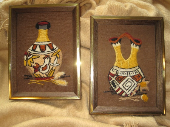 70 39 S Native American Pottery Framed Wall Art Hand Stitched