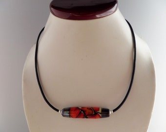 Modern Sterling Silver, Black Rubber and Lampwork Necklace