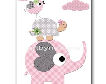 Elephant Nursery Printable Nursery Print Baby Girl Nursery Decor Download Art Baby Art Digital Print Digital Art 8x10 11X14 INSTANT DOWNLOAD