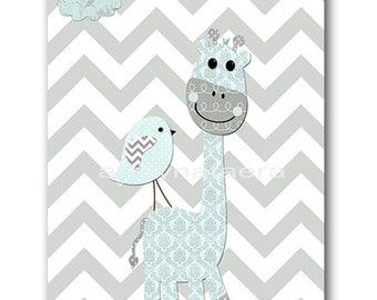 Giraffe Nursery Download Baby Boy Nursery Art Digital Wall Art Printable Digital Print Download Art 8x10 11X14 INSTANT DOWNLOAD Art Gray